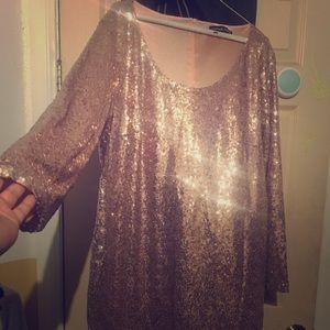 Dresses & Skirts - Glittery Rose Gold Mini Dress
